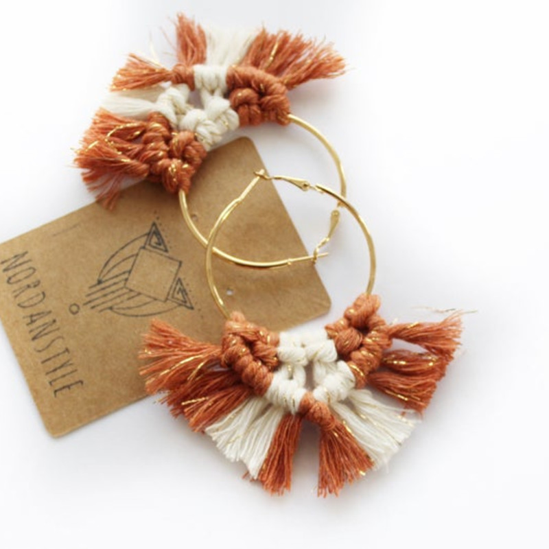 Terracotta with Gold Strings and White Macrame Earrings