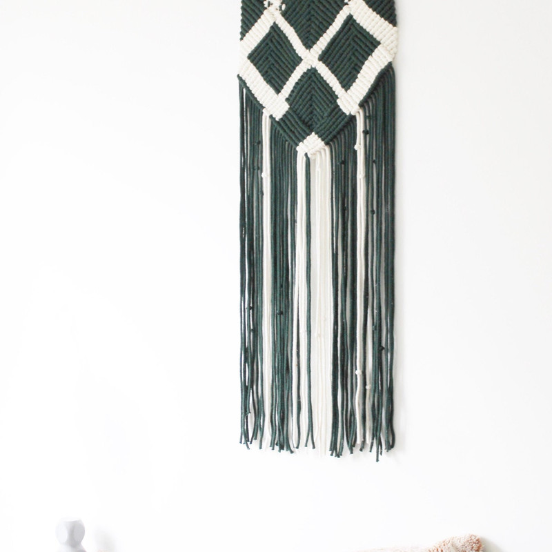 Nordan Style - Forest OWL Green and White Macrame Wall Hanging 1.jpg
