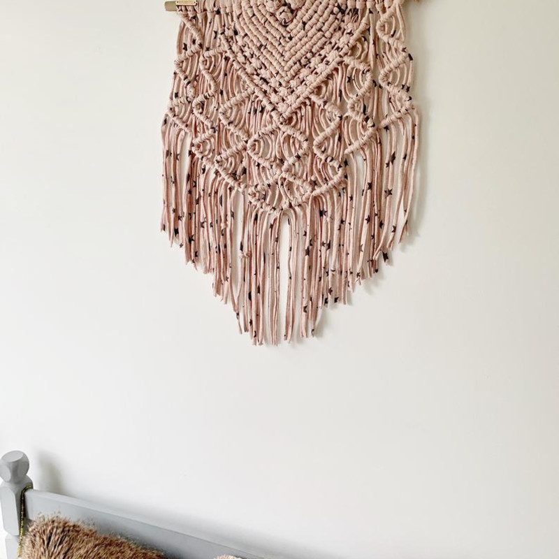 Pink Macrame Wall Hanging with Black Stars Large