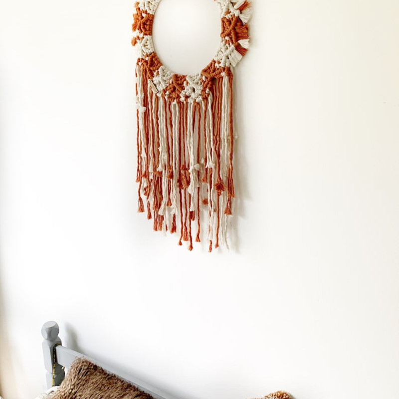 Terracotta and White Mandala, Boho Macrame Round Wall Hanging