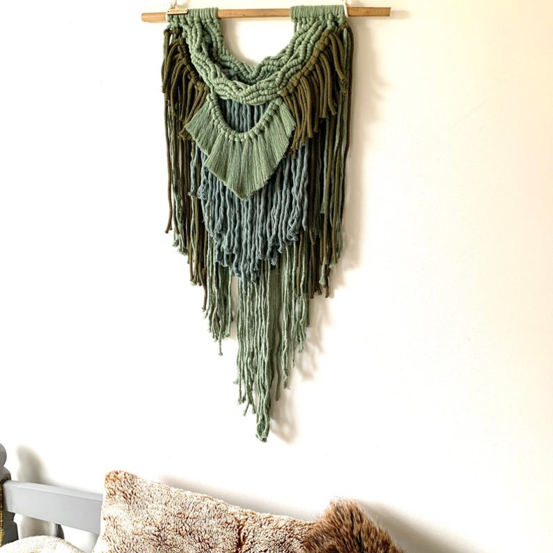 FOREST Green Macrame Layered Wall Hanging