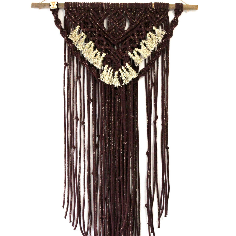 Red/Bourdon Handmade Macrame Wall Hanging with Gold String Fringes.
