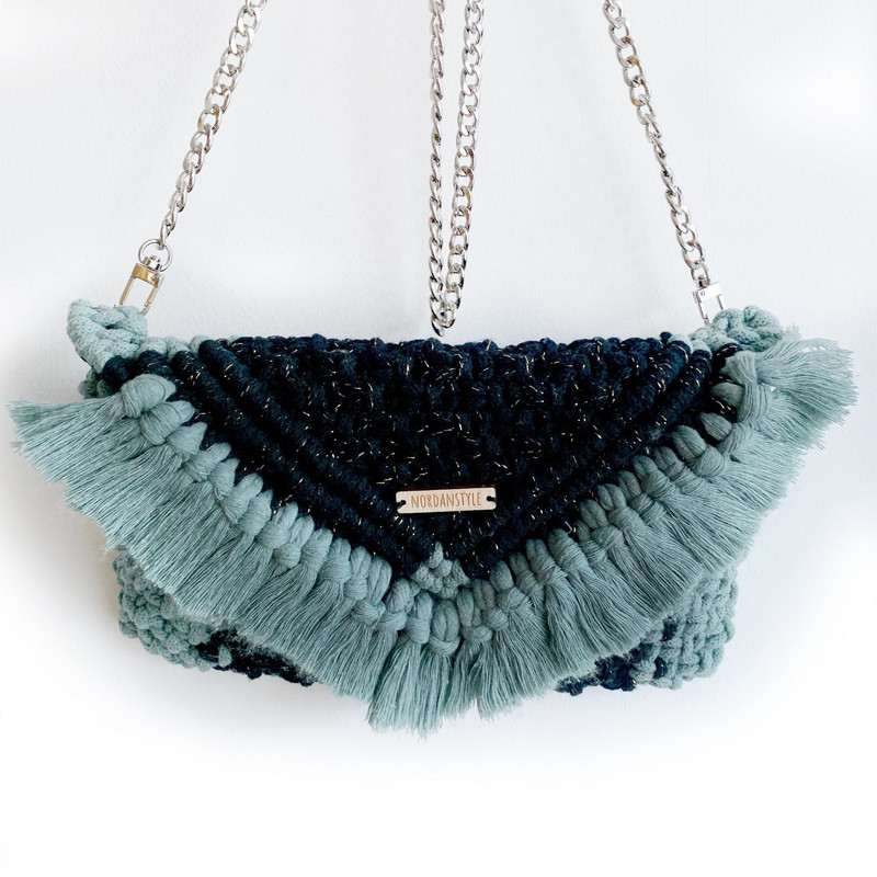 Handmade Macrame Purse made of Black Cotton Cord with Gold touches