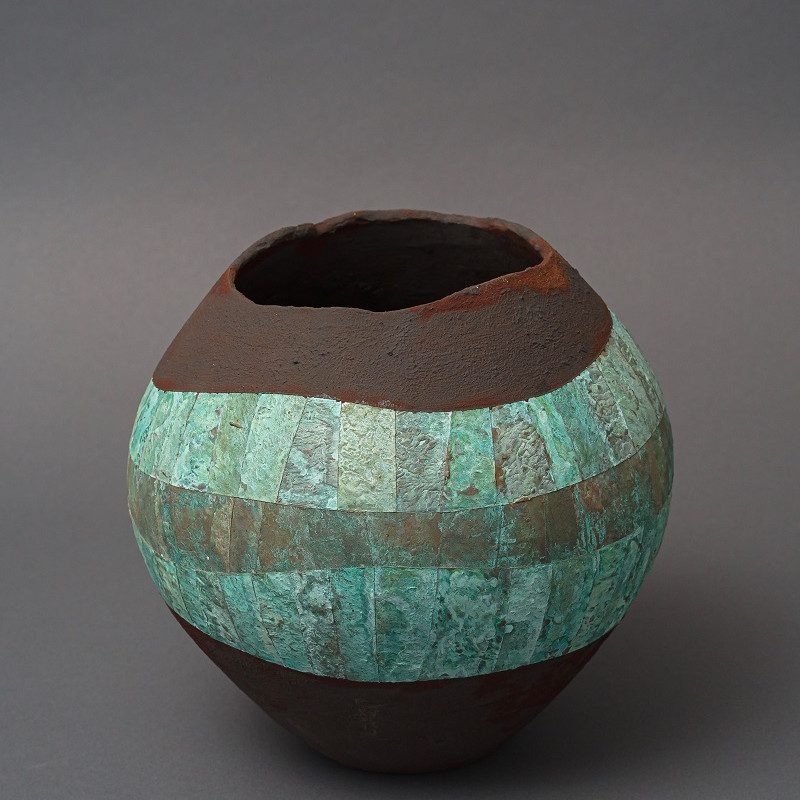 Bowl in Dark Rust with Deep Undulating Verdigris Patterned Band