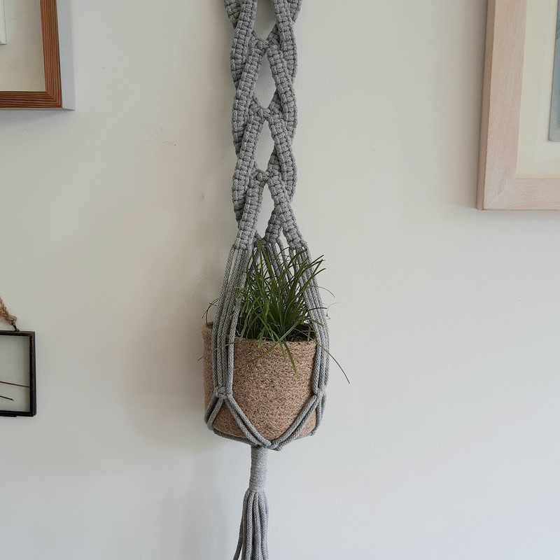 Plants and Tassels macrame wall hanger cross over design