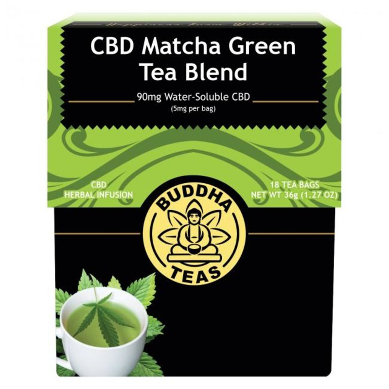 BUDDHA TEAS - CBD MATCHA GREEN TEA BLEND 90mg (5mg PER BAG)