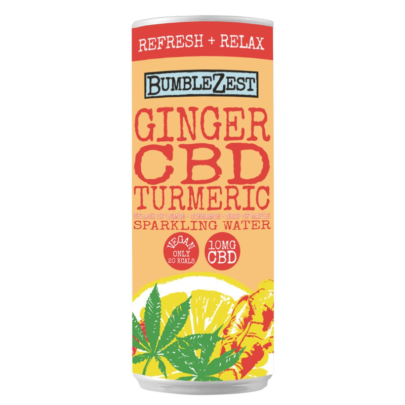 BumbleZest Refresh & Relax Sparkling Ginger, CBD and Turmeric Drink