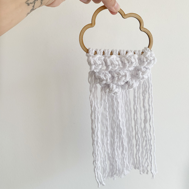 Macrame cloud wall decor, white cotton handmade wall decor in baby nursery| handmade nursery decor