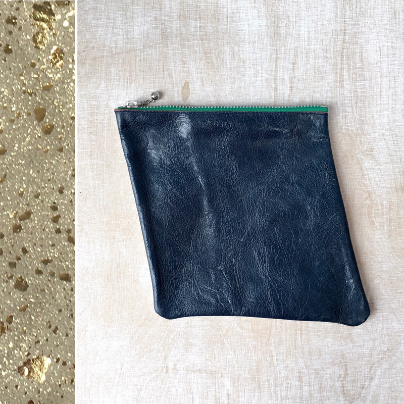 Leather Zip Pouch / twotone / navy + gold