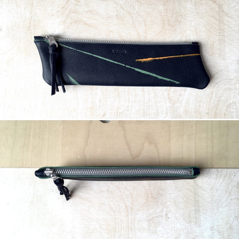 Leather Pencil Case / Navy Calf Leather / handprinted