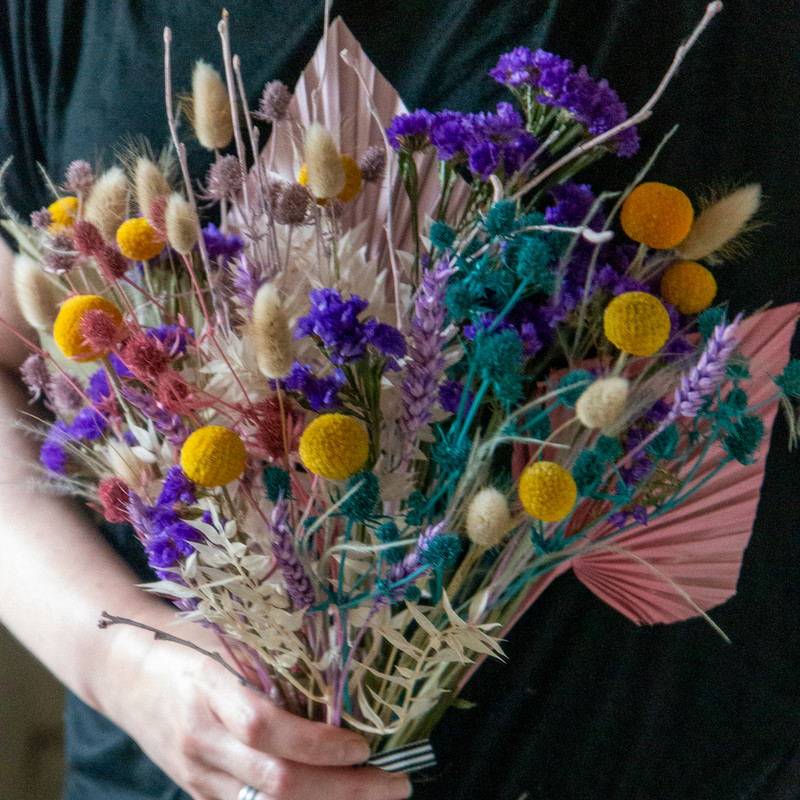 Dried flower posy colourful