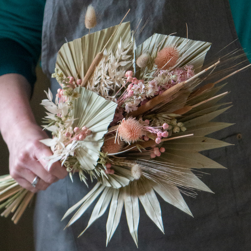 Dried flower posy pink